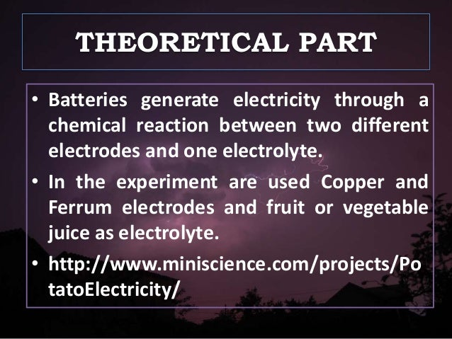 a review of the experiment of abstract chemical reactions used to produce electricity Water used in this experiment was  various water sources were used in the exemplary chemical reactions,  such a system can be used to produce hydrogen.