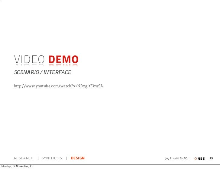 VIDEO DEMO         SCENARIO / INTERFACE         h p://www.youtube.com/watch?v=N0xg-tFkwSA         RESEARCH   SYNTHESIS   D...