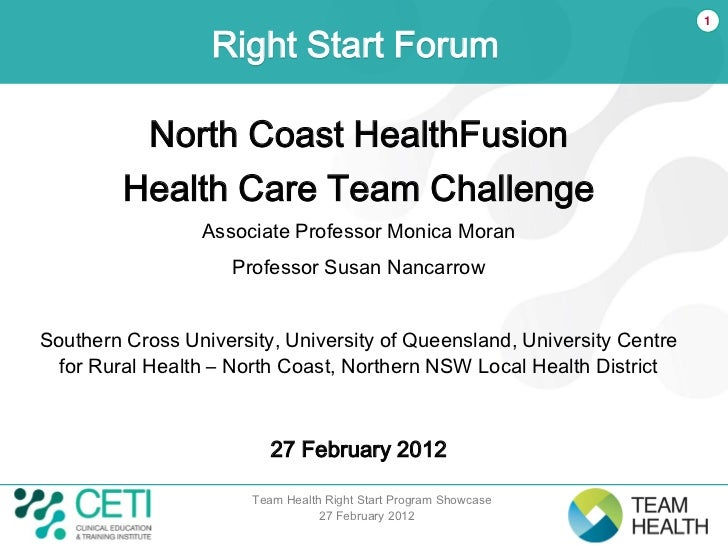 1                  Right Start Forum          North Coast HealthFusion         Health Care Team Challenge                 ...
