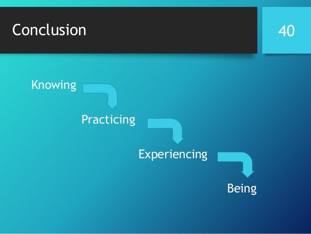 Conclusion 40 Knowing Practicing Experiencing Being