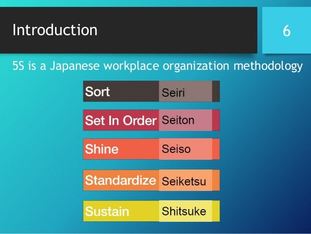 Introduction 5S is a Japanese workplace organization methodology 6