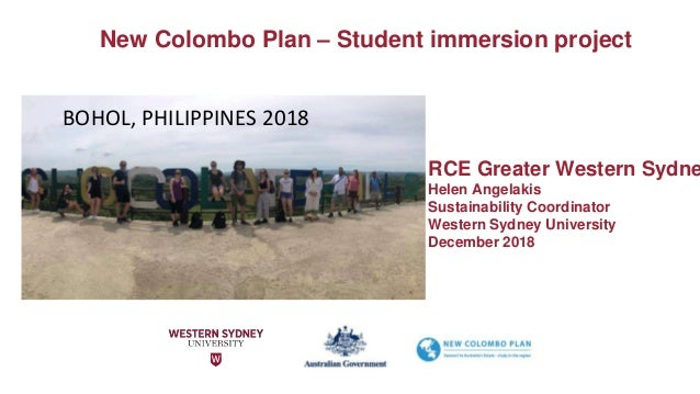 RCE Greater Western Sydne Helen Angelakis Sustainability Coordinator Western Sydney University December 2018 BOHOL, PHILIP...