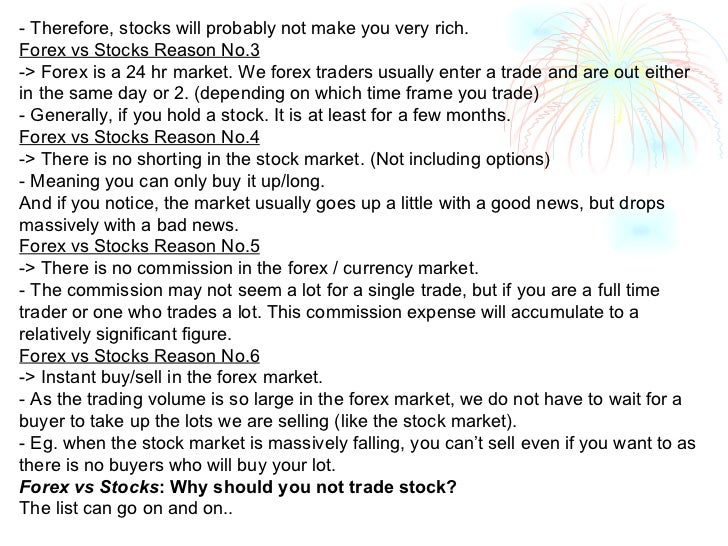 FOREX VS STOCKS: WHY SHOULD YOU NOT TRADE STOCK?