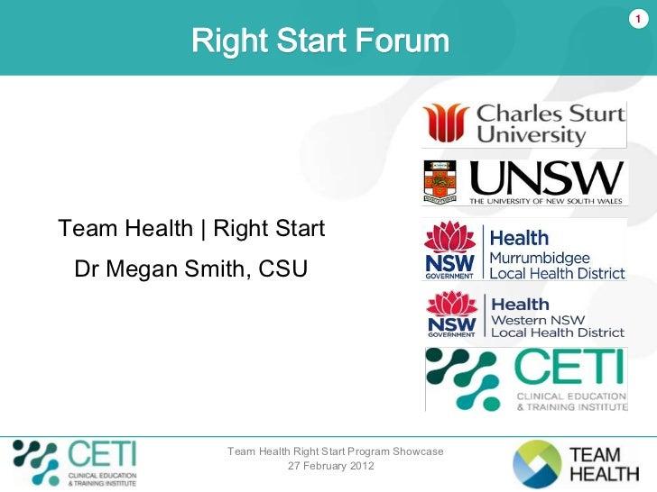 1            Right Start ForumTeam Health | Right Start Dr Megan Smith, CSU               Team Health Right Start Program ...