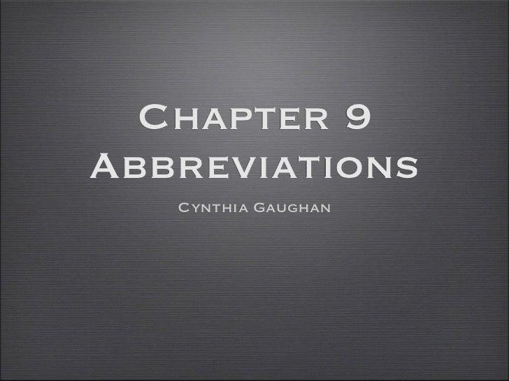 Chapter 9Abbreviations   Cynthia Gaughan
