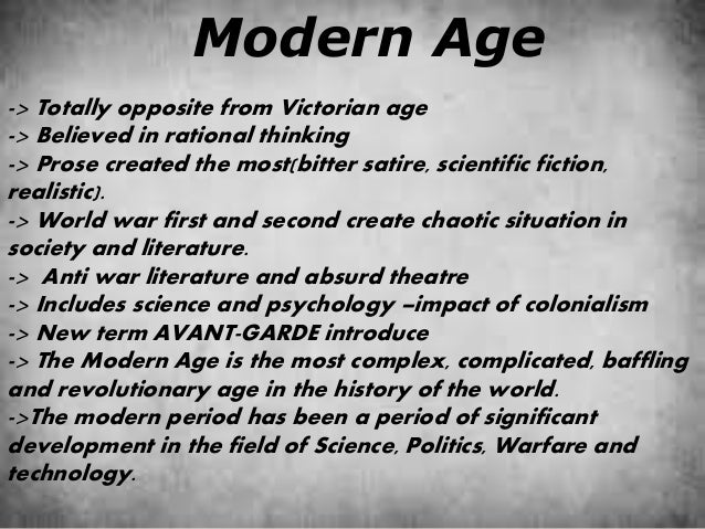 General Characteristics Of Modern Literature