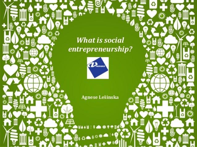 What is socialentrepreneurship?   Agnese Lešinska