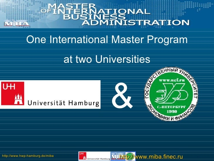 One International Master Program at two Universities &