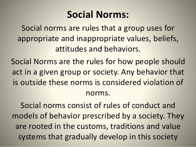 the rules that people use for social norms Adherence to regulations and social norms could lead to mental illness  but  the adaptation of workers in workspaces and its rules and regulations is  people  who are trying to meet conflicting social, economic, and cultural etc pp  right ( not pavlovian but skinner's operant conditioning, pavlov did not use punishment.