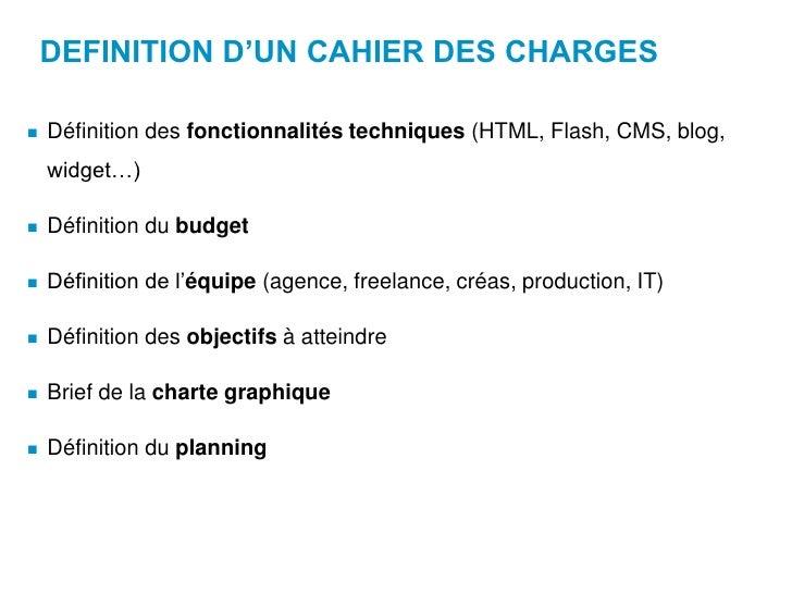 Le web la gestion de projet web et la communication web 2 0 - Cahier des charges definition ...
