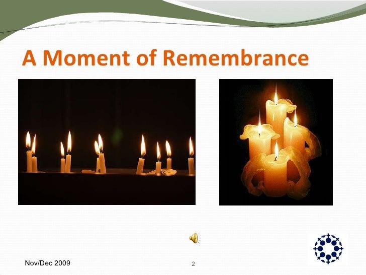 A Moment of Remembrance Nov/Dec 2009