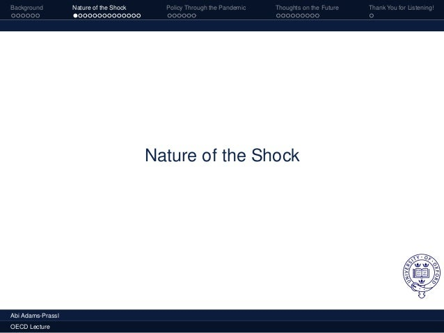 Background Nature of the Shock Policy Through the Pandemic Thoughts on the Future Thank You for Listening! Nature of the S...