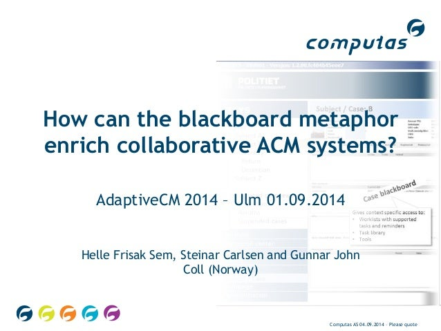 How can the blackboard metaphor  enrich collaborative ACM systems?  AdaptiveCM 2014 – Ulm 01.09.2014  Helle Frisak Sem, St...