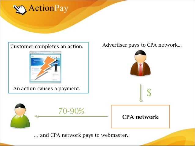 Customer completes an action.      Advertiser pays to CPA network... An action causes a payment.                          ...