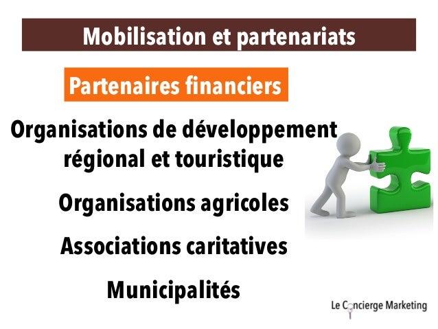Mobilisation et partenariats Partenaires financiers Organisations de développement régional et touristique Organisations a...