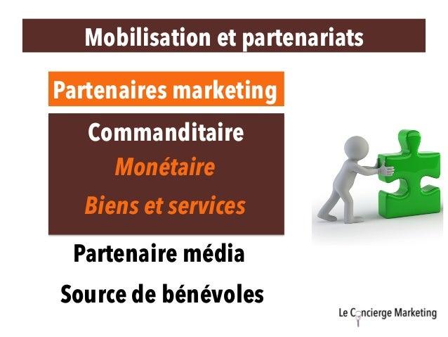 Mobilisation et partenariats Partenaires marketing Biens et services Commanditaire Partenaire média Monétaire Source de bé...