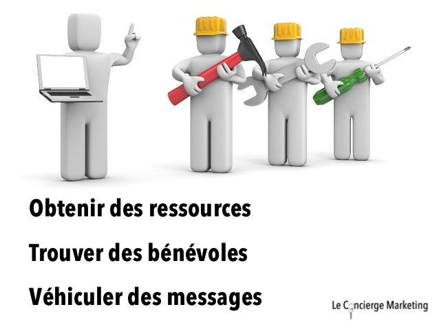Mobilisation et partenariats Trouver des bénévoles Obtenir des ressources Véhiculer des messages