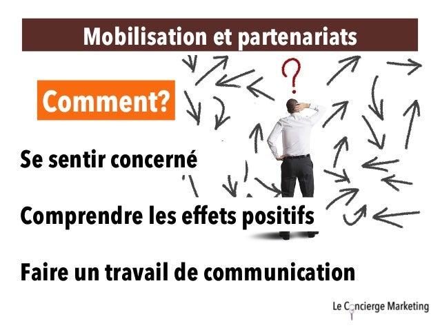 Mobilisation et partenariats Se sentir concerné Comprendre les effets positifs Faire un travail de communication Comment?