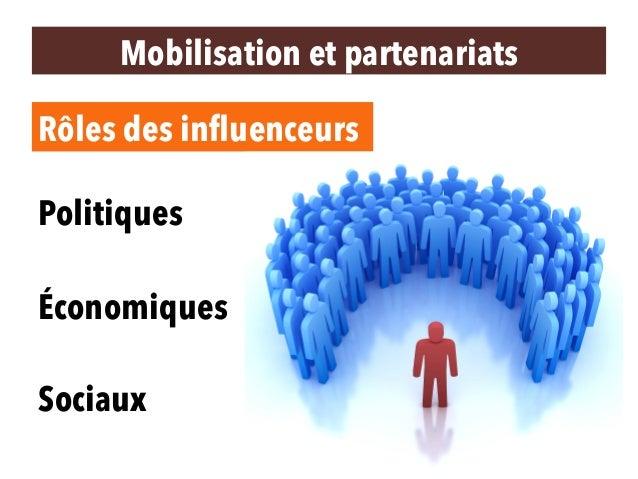 Mobilisation et partenariats Politiques Économiques Sociaux Rôles des influenceurs