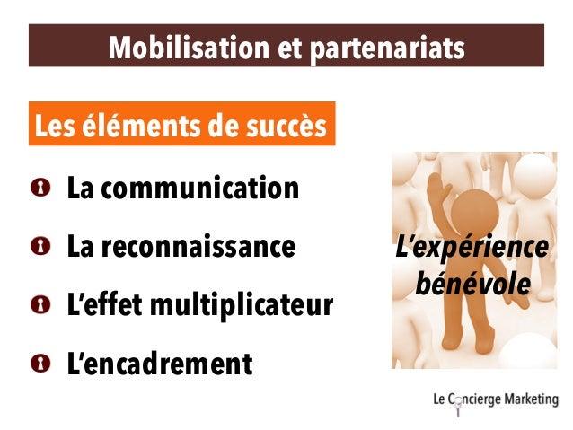 Mobilisation et partenariats Les éléments de succès  La communication  La reconnaissance  L'effet multiplicateur  L'en...