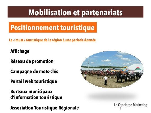 Mobilisation et partenariats Positionnement touristique Association Touristique Régionale Bureaux municipaux d'information...