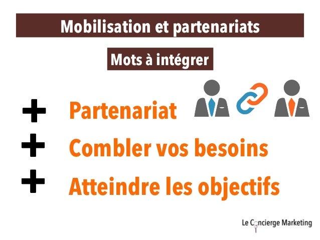 Partenariat Mots à intégrer Combler vos besoins Atteindre les objectifs Mobilisation et partenariats