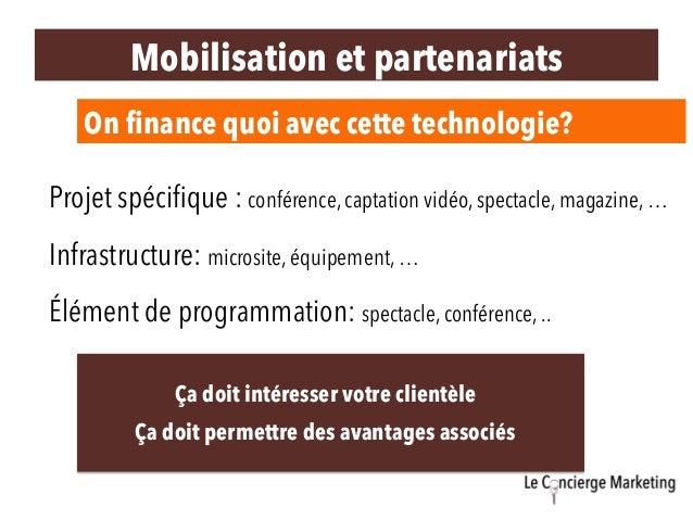 On finance quoi avec cette technologie? Projet spécifique : conférence, captation vidéo, spectacle, magazine, … Infrastruct...