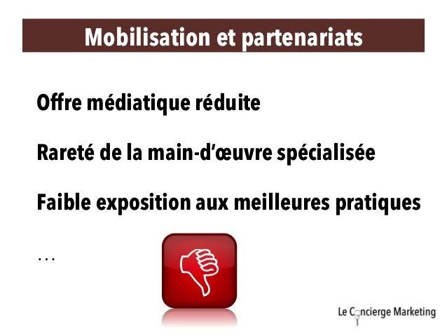 Mobilisation et partenariats Offre médiatique réduite Rareté de la main-d'œuvre spécialisée Faible exposition aux meilleur...