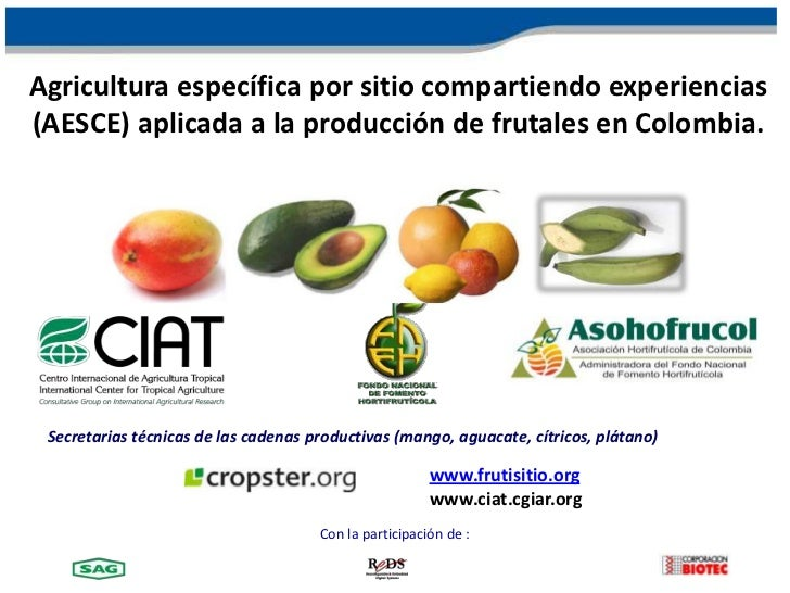 Agricultura específica por sitio compartiendo experiencias(AESCE) aplicada a la producción de frutales en Colombia. Secret...