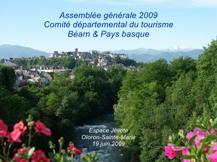 Assemblée générale 2009 Comité départemental du tourisme Béarn & Pays basque Espace Jéliote Oloron-Sainte-Marie 19 juin 2009