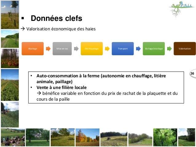 36  Données clefs  Valorisation économique des haies • Auto-consommation à la ferme (autonomie en chauffage, litière ani...
