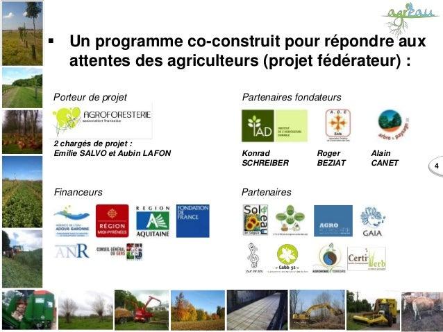 2 chargés de projet : Emilie SALVO et Aubin LAFON 4  Un programme co-construit pour répondre aux attentes des agriculteur...