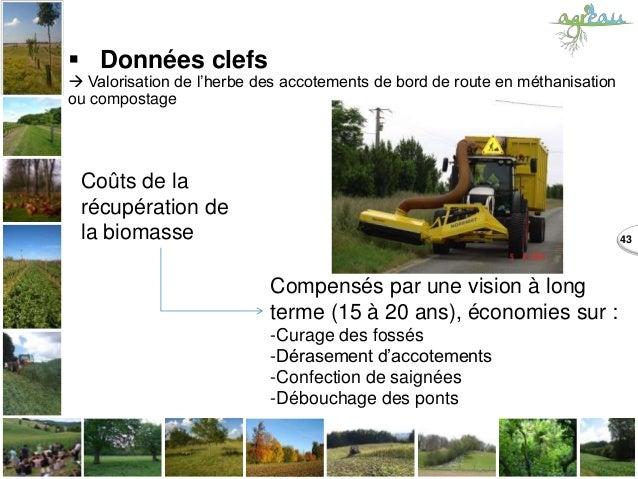 43  Données clefs  Valorisation de l'herbe des accotements de bord de route en méthanisation ou compostage Coûts de la r...