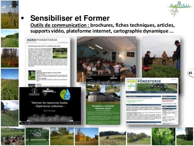 45  Sensibiliser et Former Outils de communication : brochures, fiches techniques, articles, supports vidéo, plateforme i...