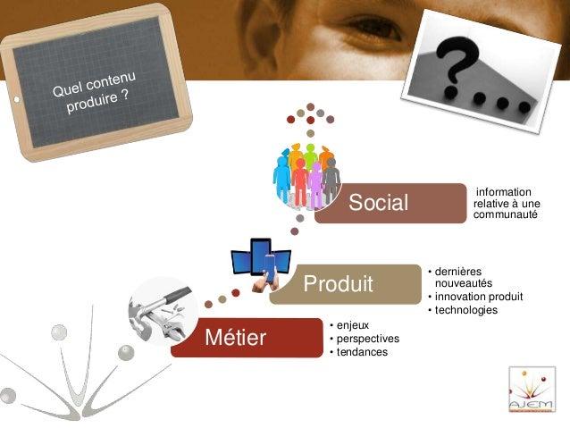 Métier • enjeux • perspectives • tendances Produit • dernières nouveautés • innovation produit • technologies Social infor...