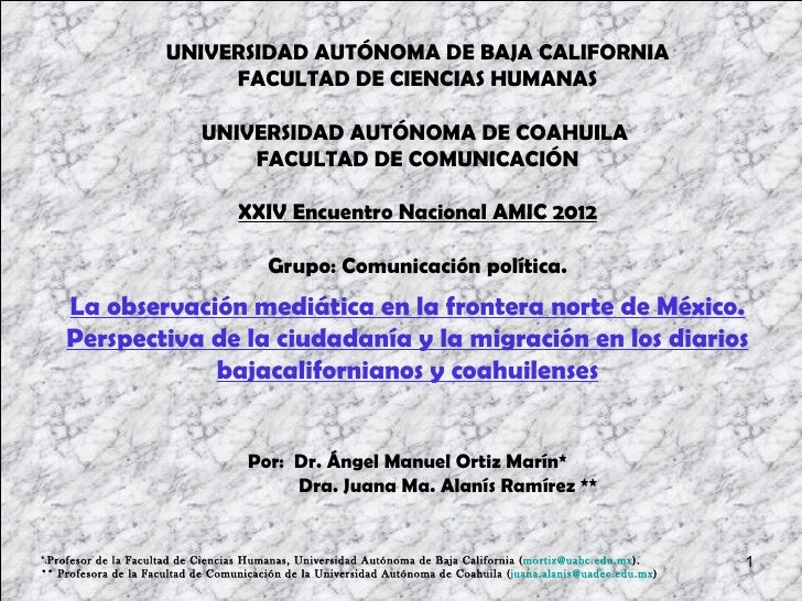 UNIVERSIDAD AUTÓNOMA DE BAJA CALIFORNIA                           FACULTAD DE CIENCIAS HUMANAS                            ...