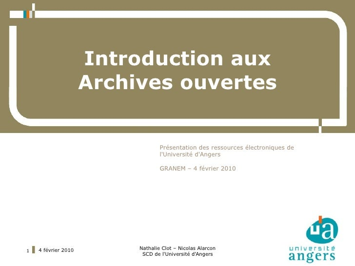 Introduction aux                      Archives ouvertes                                     Présentation des ressources él...