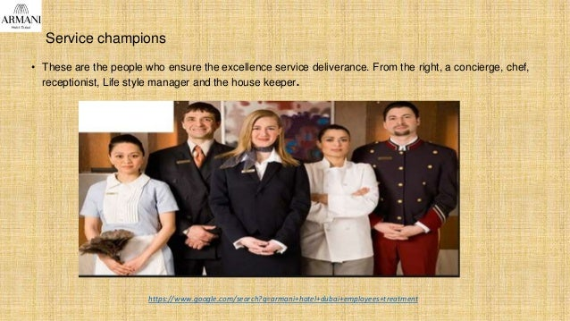 Service champions • These are the people who ensure the excellence service deliverance. From the right, a concierge, chef,...