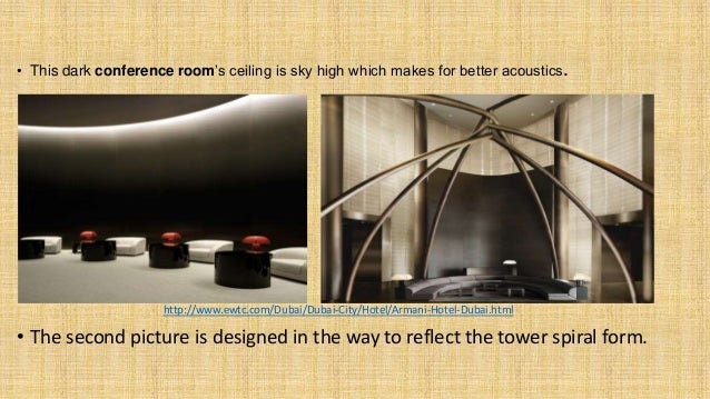 • This dark conference room's ceiling is sky high which makes for better acoustics. http://www.ewtc.com/Dubai/Dubai-City/H...