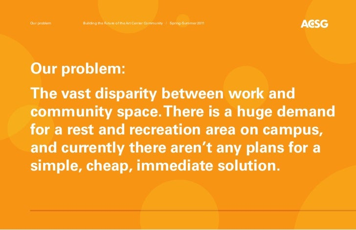 Our problem   Building the Future of the Art Center Community / Spring-Summer 2011Our problem:The vast disparity between w...