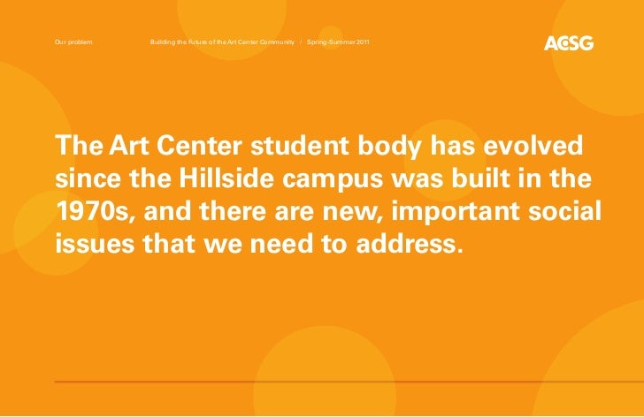 Our problem   Building the Future of the Art Center Community / Spring-Summer 2011The Art Center student body has evolveds...