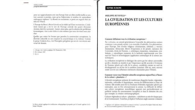 Article - La Civilisation et les Cultures Européennes - Avril 1993