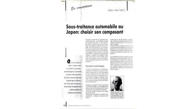 Article - Sous-traitance automobile au Japon: choisir son composant