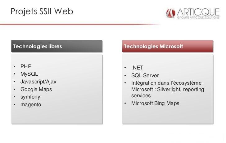 Projets SSII WebTechnologies libres   Technologies Microsoft•   PHP               • .NET•   MySQL             • SQL Server...
