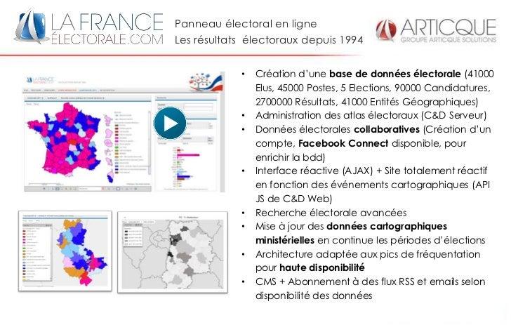Panneau électoral en ligneLes résultats électoraux depuis 1994            •   Création d'une base de données électorale (4...