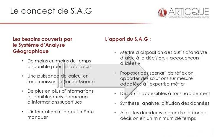 Le concept de S.A.GLes besoins couverts par               L'apport du S.A.G :le Système d'AnalyseGéographique             ...