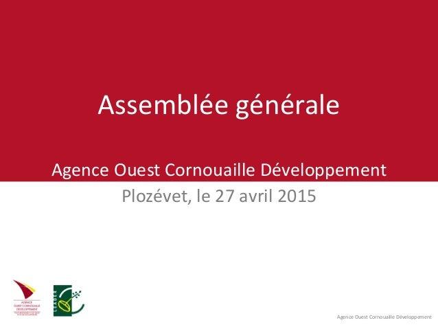Agence Ouest Cornouaille Développement Assemblée générale Agence Ouest Cornouaille Développement Plozévet, le 27 avril 2015