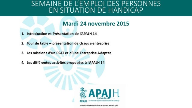 SEMAINE DE L'EMPLOI DES PERSONNES EN SITUATION DE HANDICAP Mardi 24 novembre 2015 1. Introduction et Présentation de l'APA...