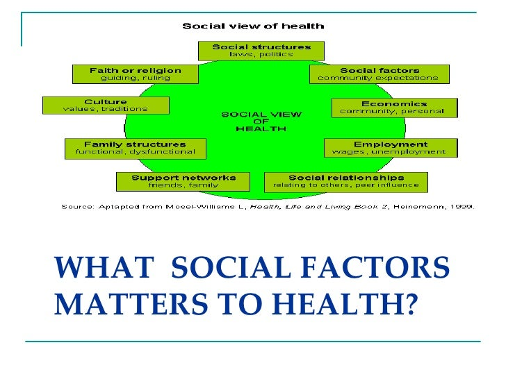 WHAT  SOCIAL FACTORS MATTERS TO HEALTH?