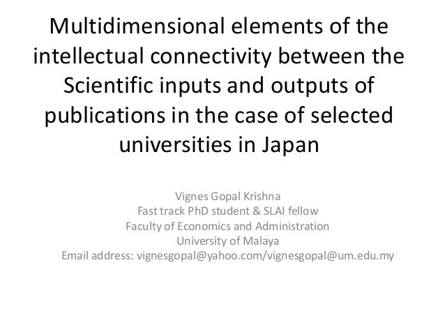 Multidimensional elements of the intellectual connectivity between the Scientific inputs and outputs of publications in th...